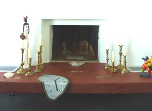 Private house. Fire place clock trompe l'oeil, after Dali.