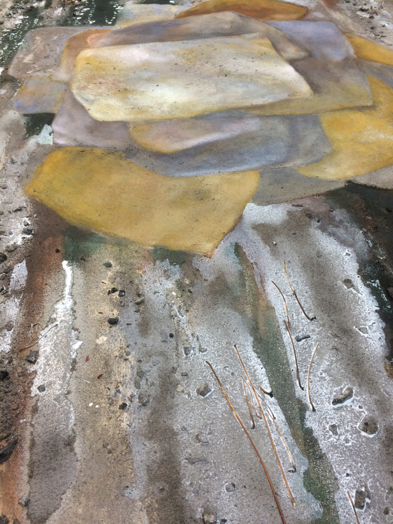 "Detail of work in progress ""Riverbed""."