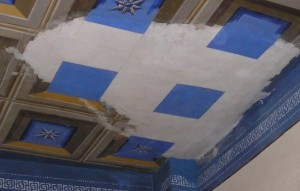 Restoration progress of neoclassical ceiling. Ipatia guest house.