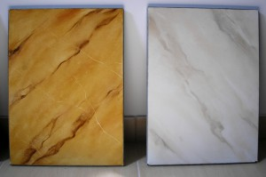 Faux marble samples. Painted marble immitation can transform wood or plaster into ellegant, precious looking surfaces.